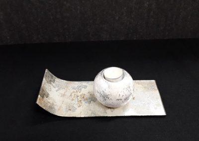 Goldbach  glas plaat met tealight houder ivoor